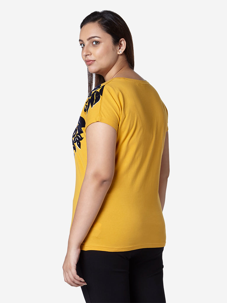 Gia Curve Mustard Floral Print Bella T-Shirt