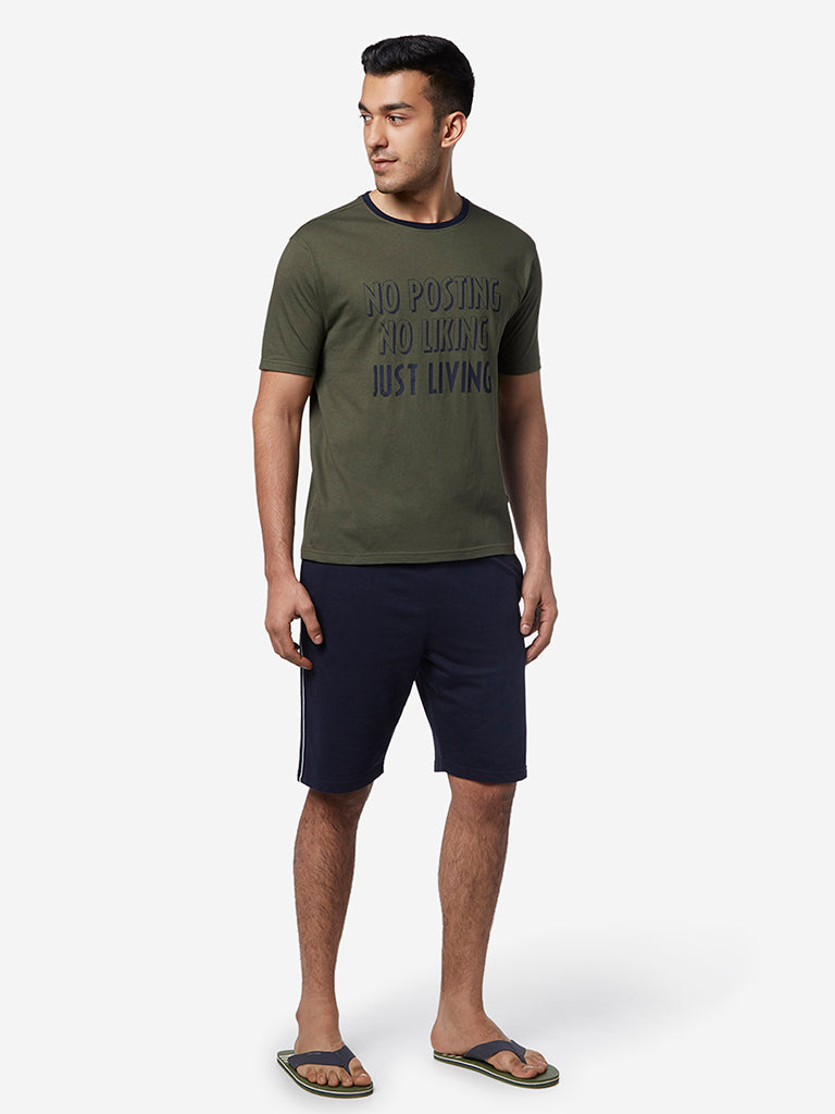WES Lounge Olive Printed Relaxed Fit T-Shirt