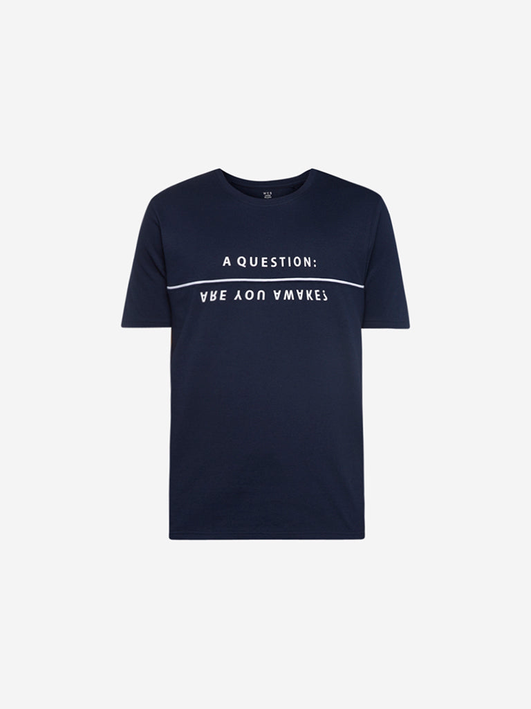 WES Lounge Navy Text Print Relaxed Fit T-Shirt