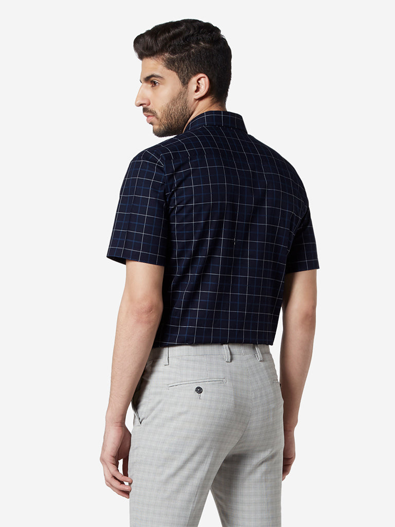 WES Formals Navy Checked Relaxed Fit Shirt