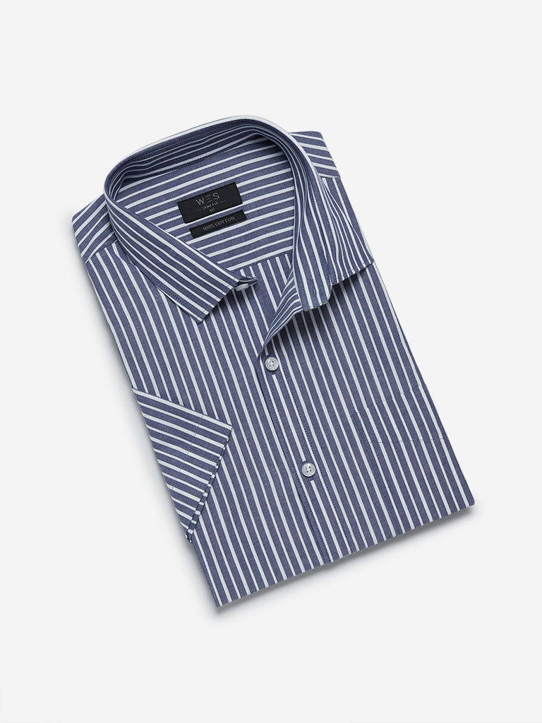 WES Formals Navy Striped Slim Fit Shirt