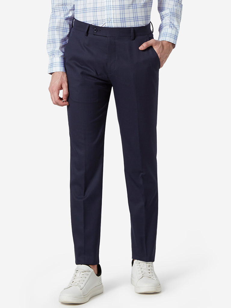 WES Formals Navy Houndstooth Slim-Fit Trousers