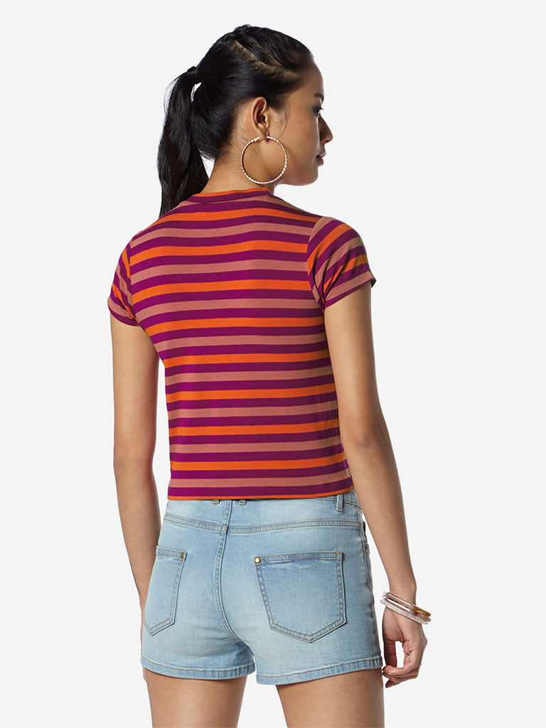 Nuon Multicolour Striped Adora Crop T-Shirt