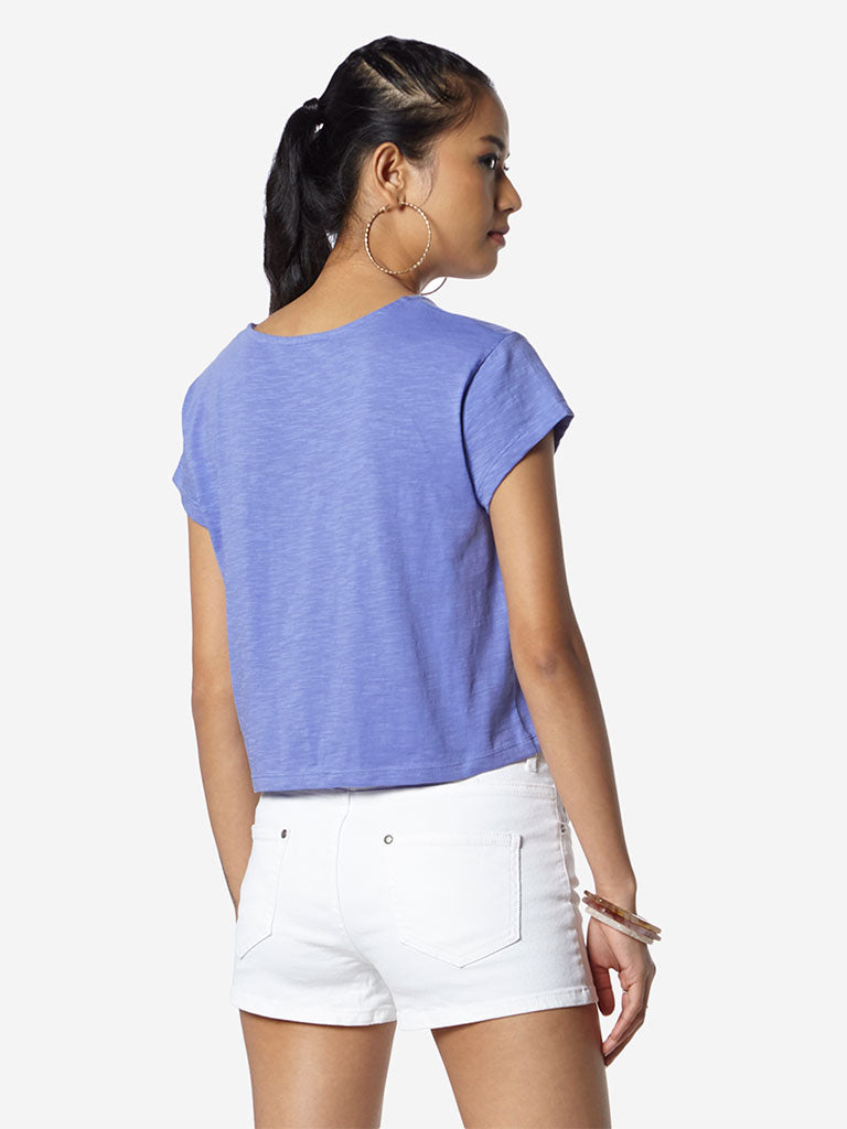 Nuon Lavender Pure Cotton Samuel Cropped T-Shirt