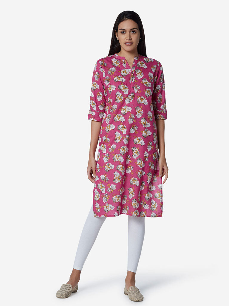 Utsa Pink Floral Patterned Straight Kurta