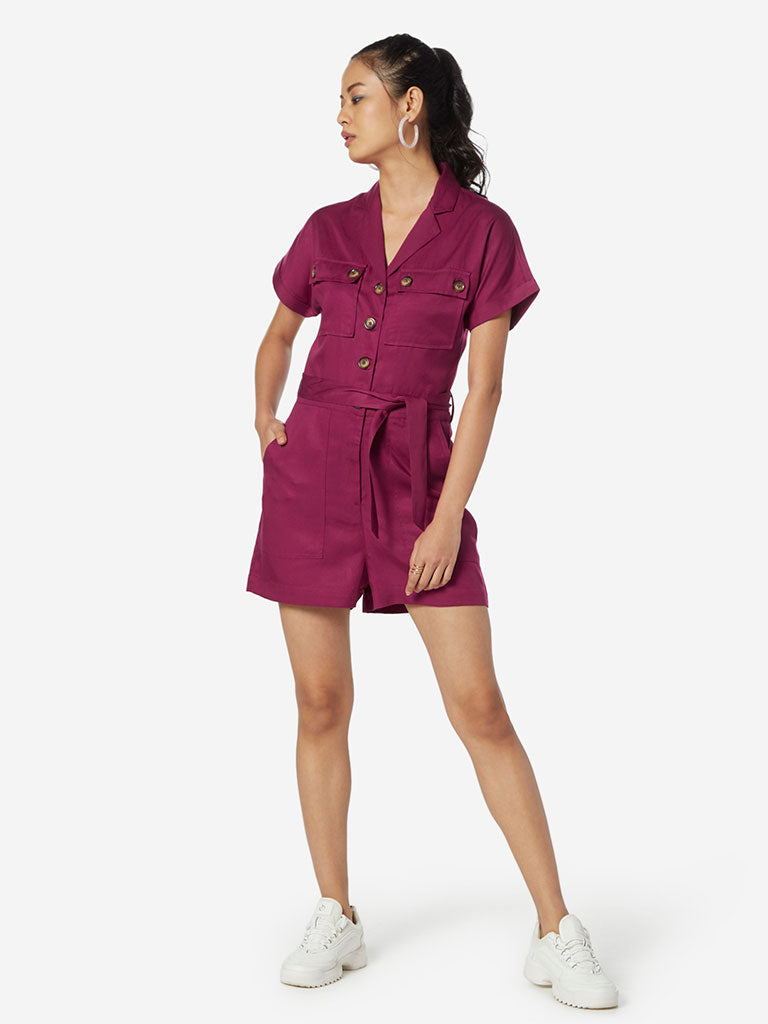 Nuon Hot Pink Playsuit With Belt