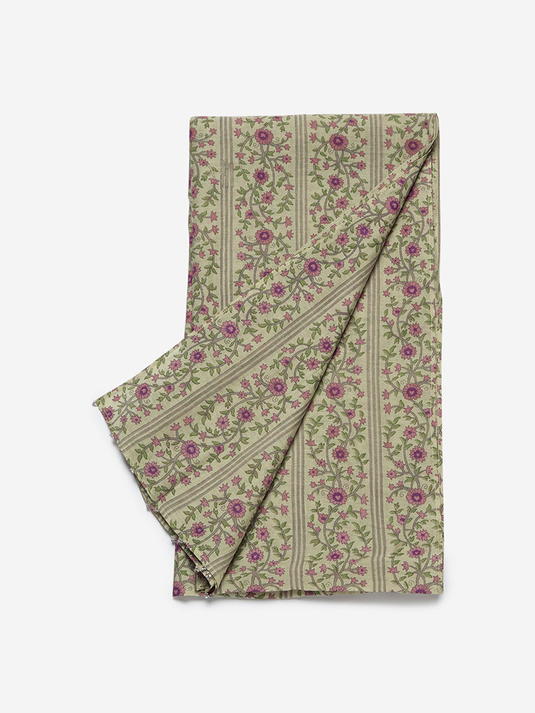 Zuba Lime Floral Print Cotton-Silk Stole