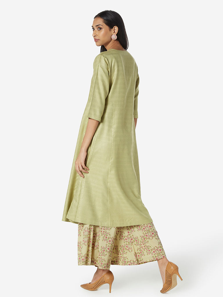 Zuba Light Green Self-Textured A-line Kurta