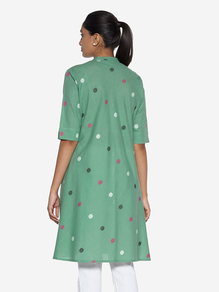 Utsa Green A-Line Geometrical Patterned Kurta