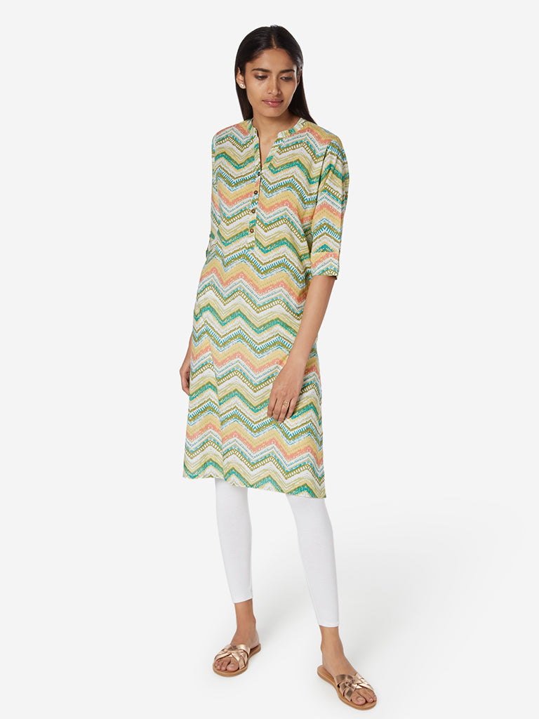 Utsa Lime Straight Chevron Print Kurta