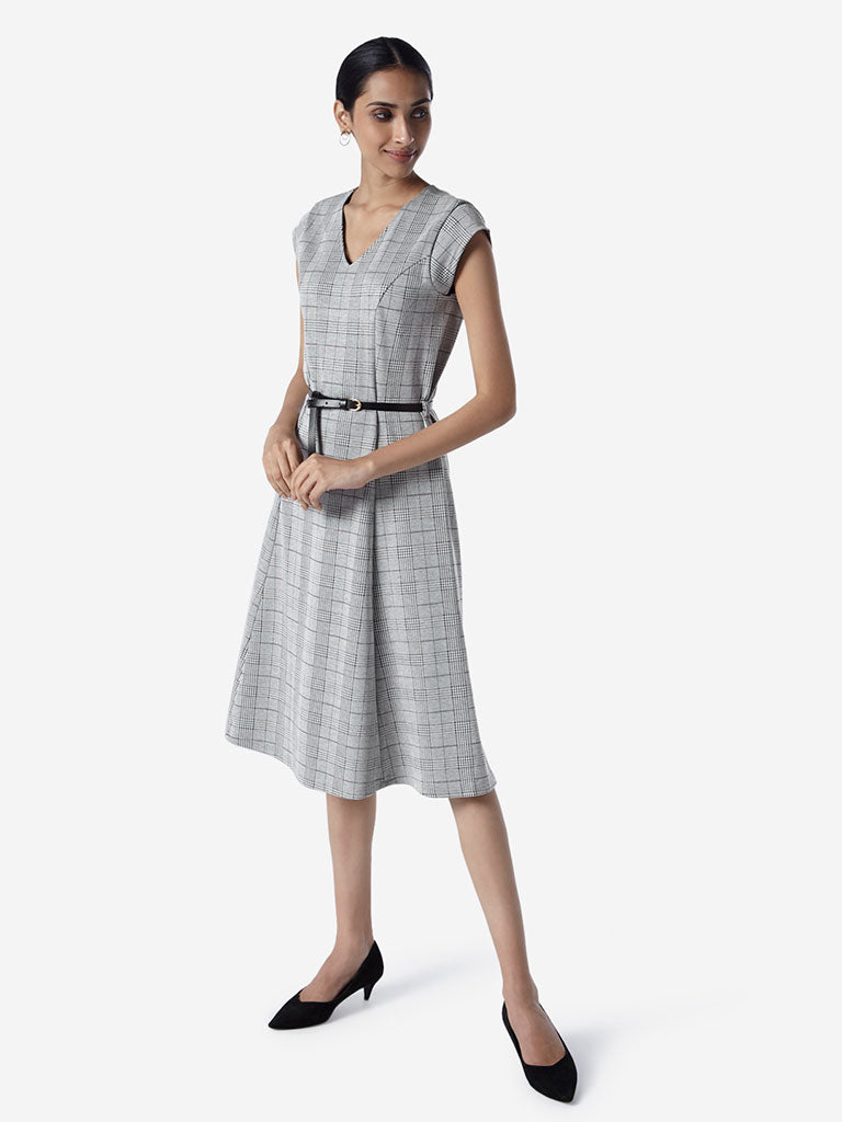 Wardrobe Grey Checkered Dress With Belt