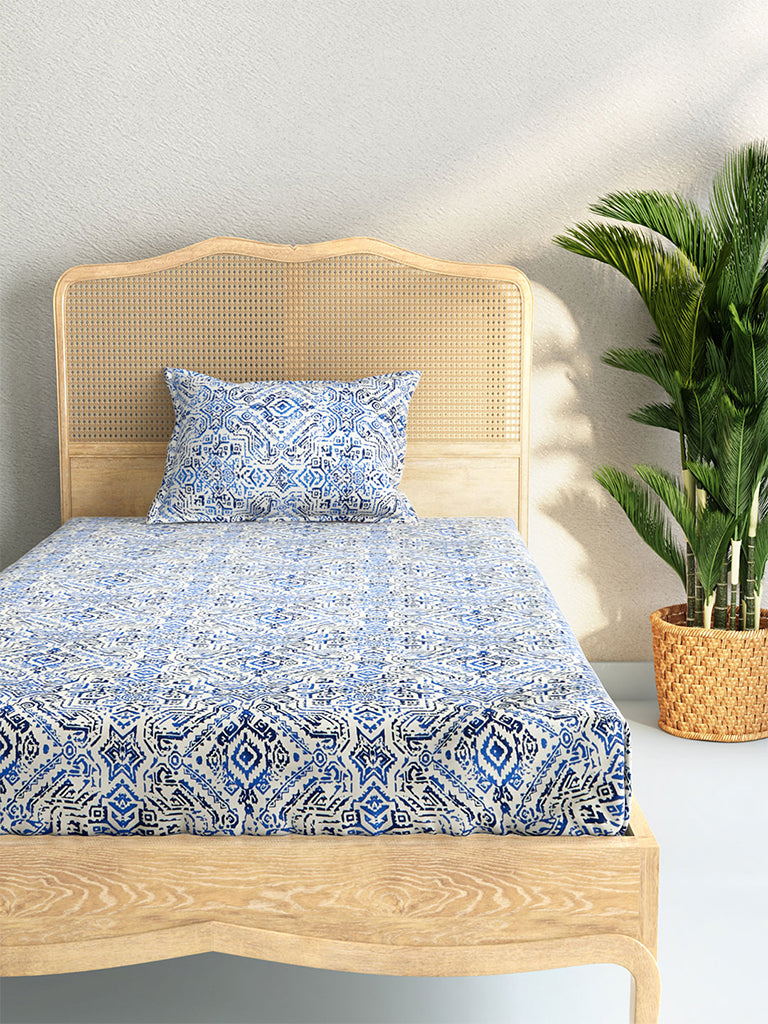 Westside Home Blue 210 TC Sateen Single Bedsheet With Pillowcase