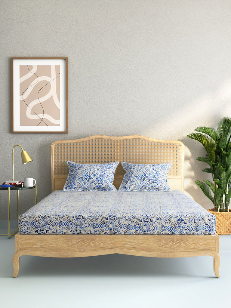 Westside Home Blue 210 TC Sateen Double Bedsheet With Two Pillowcases