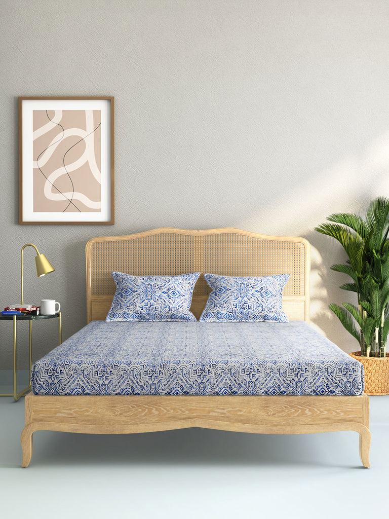 Westside Home Blue 210 TC Sateen King Bedsheet With Two Pillowcases