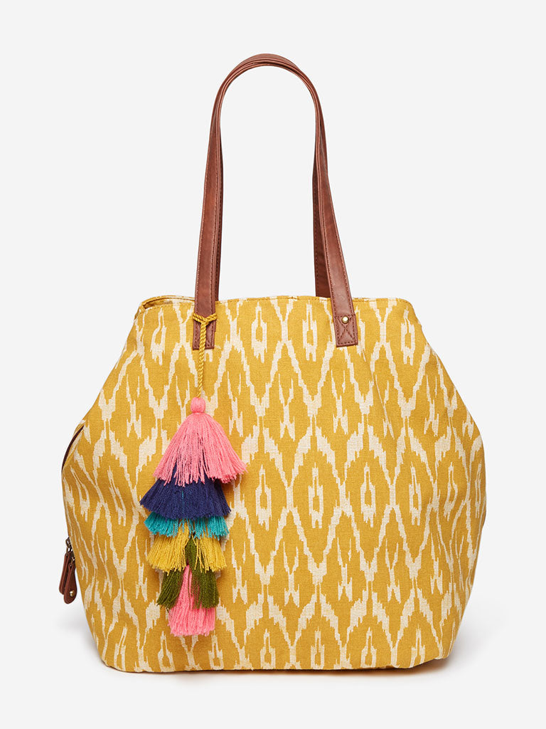 Westside Mustard Ikat Patterned Simone Tote Bag