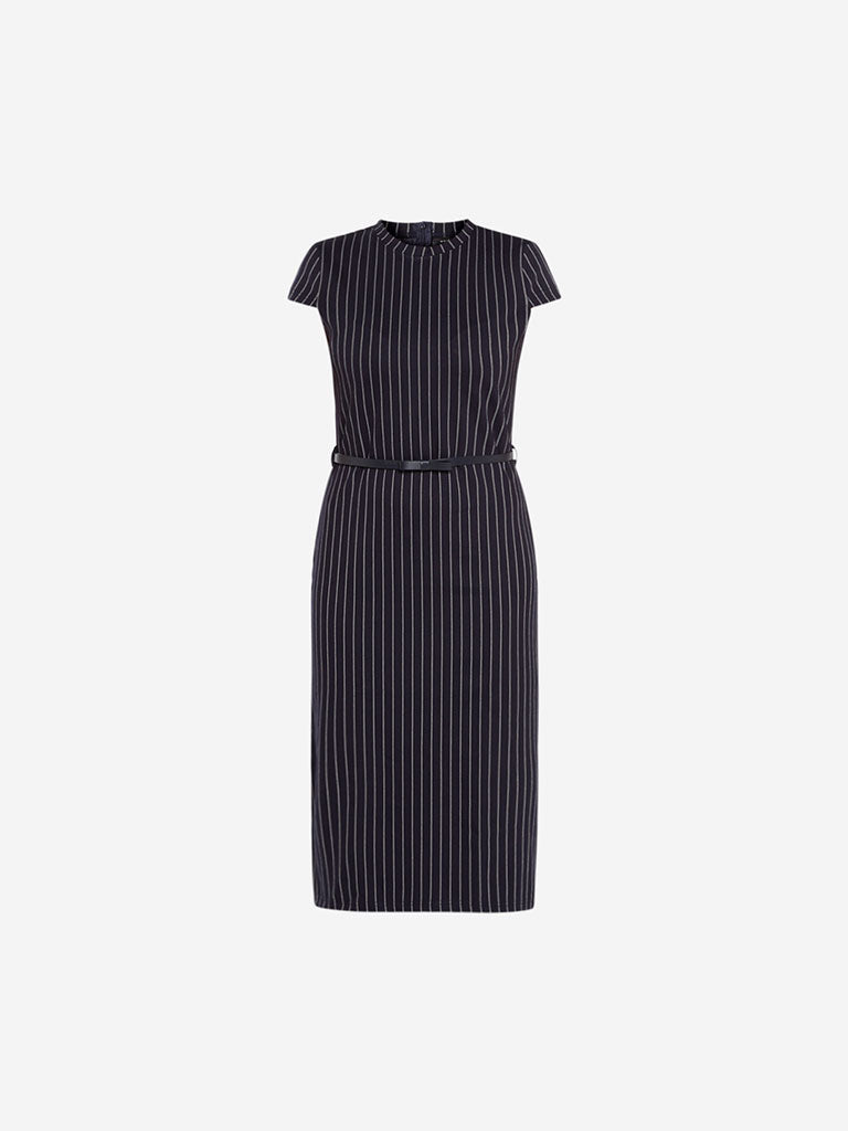 Wardrobe Navy Striped Sam Dress With Belt