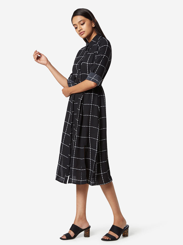 Wardrobe Black Checkered Shirtdress with Belt
