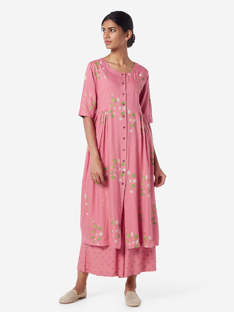 Utsa Pink Printed Fit-And-Flare Kurta