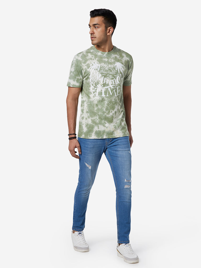 Nuon Sage Green Printed Slim Fit T-Shirt