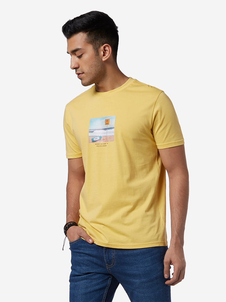 Nuon Yellow Printed Slim Fit T-Shirt
