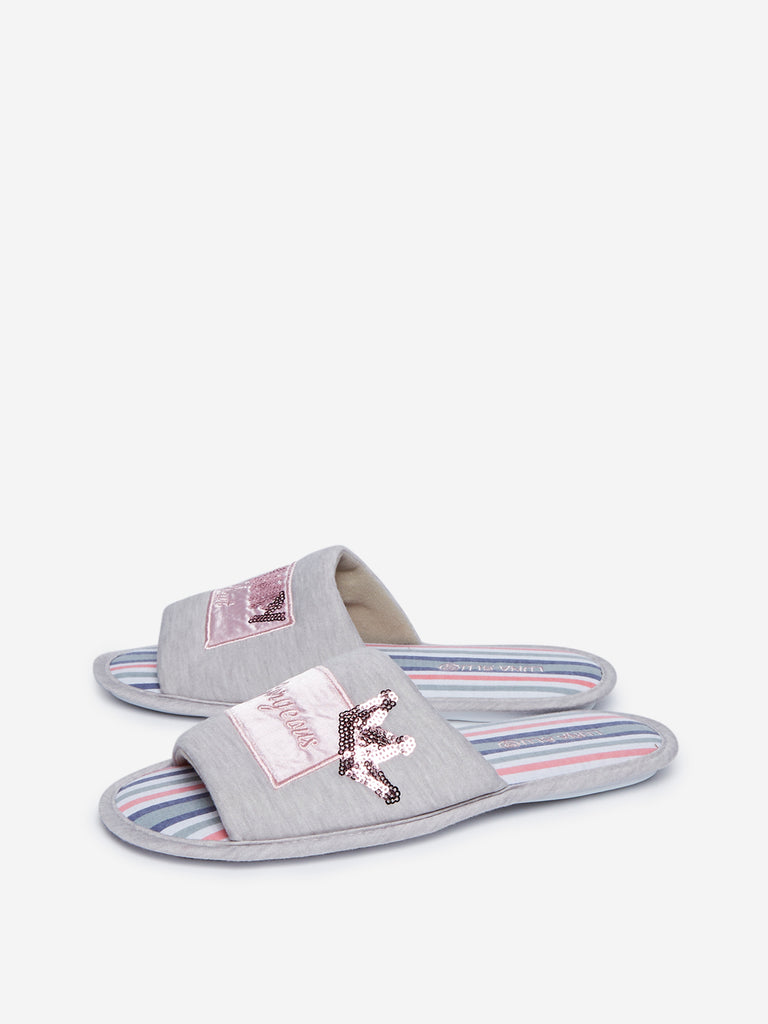 LUNA BLU Grey Striped Bedroom Slippers