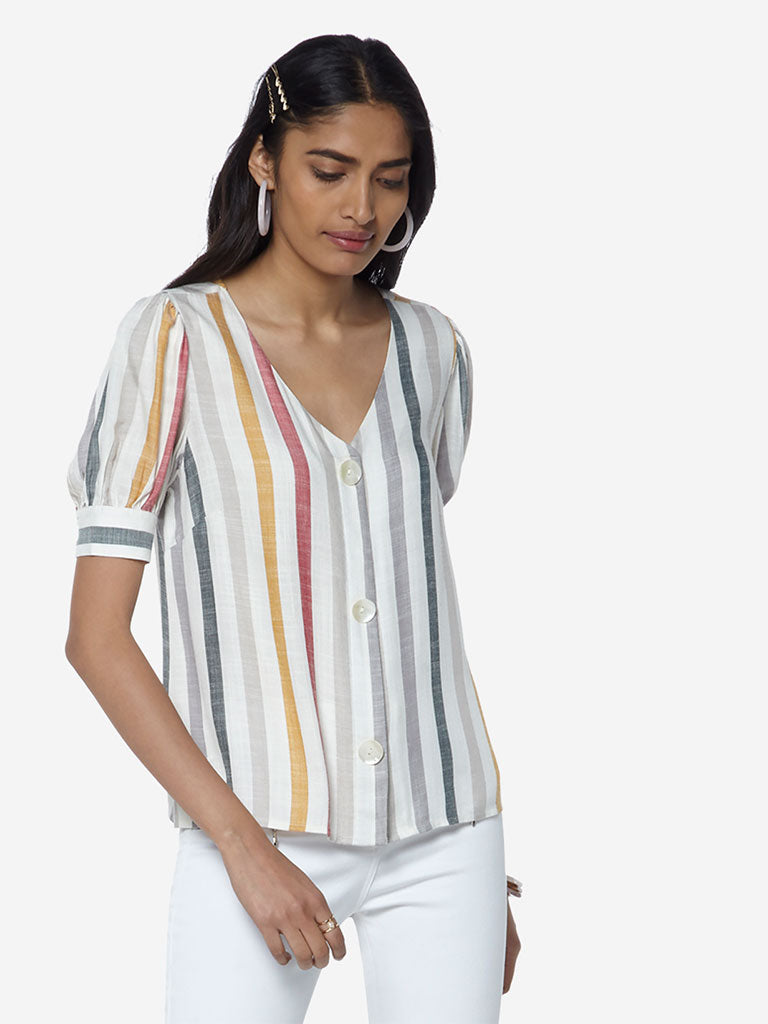 LOV Off-White Striped Jolene Top