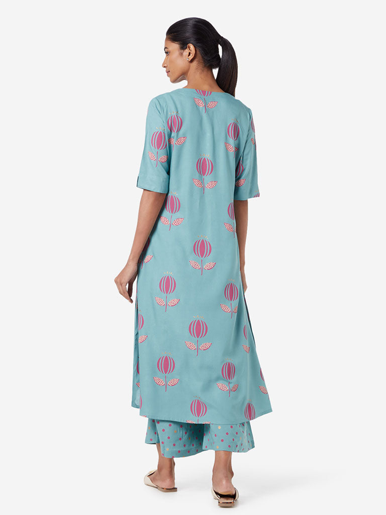Utsa Turquoise Floral Pattern High-Low Kurta