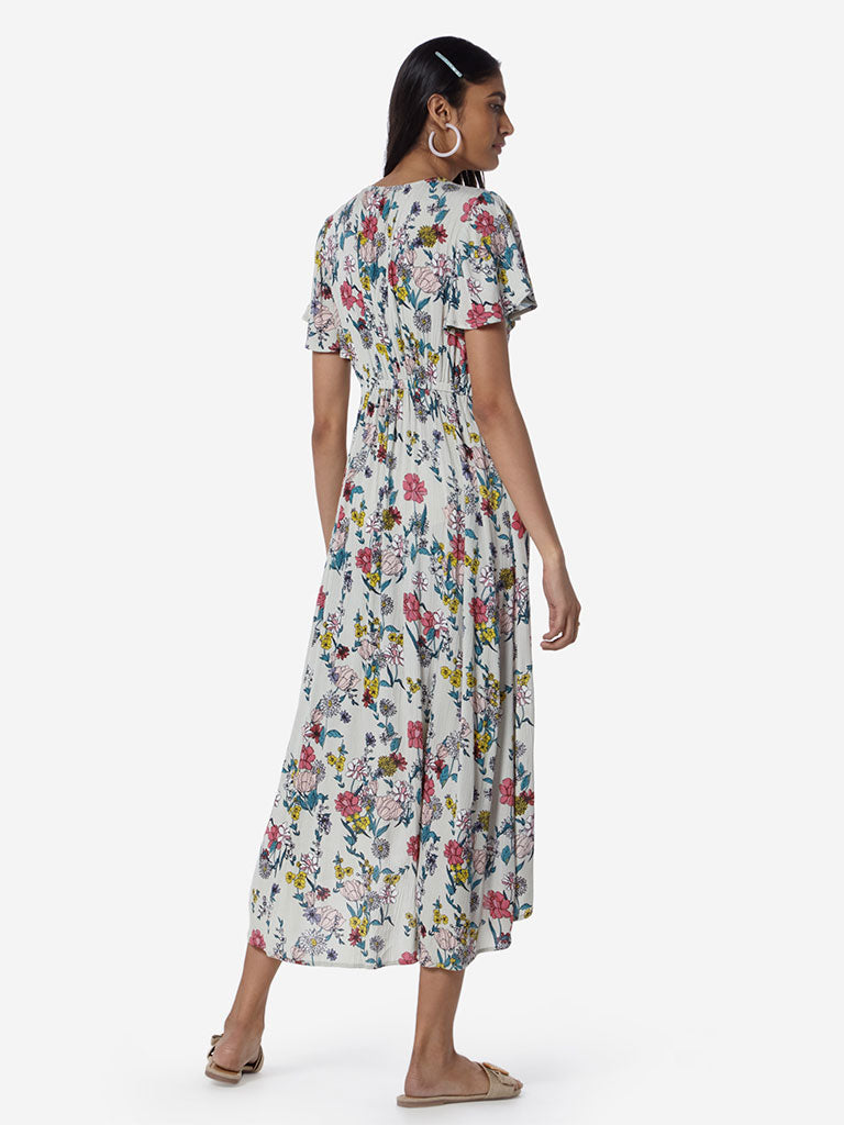 LOV Off-White Floral Candy High-Low Dress