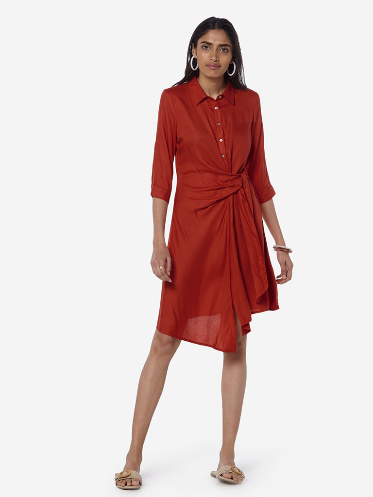 LOV Rust Viola Shirtdress