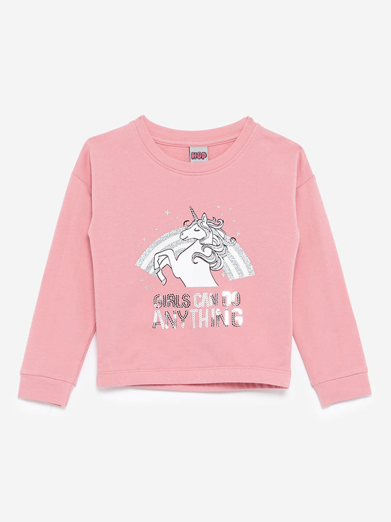 HOP Kids Pink Unicorn Print T-Shirt