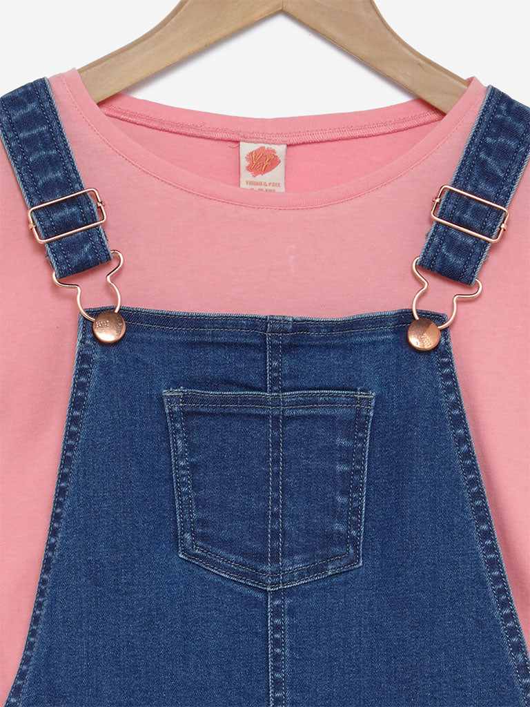 Y&F Kids Blue Dungarees And Peach T-Shirt Set