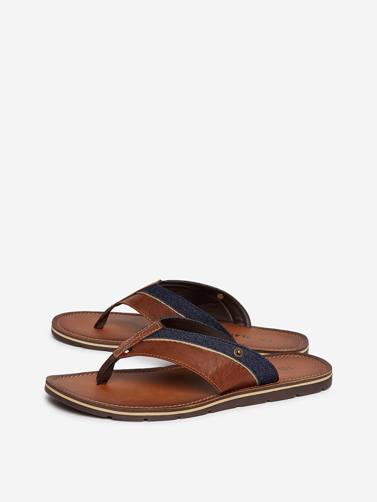 SOLEPLAY Tan V-Strap Faux-Leather Sandals