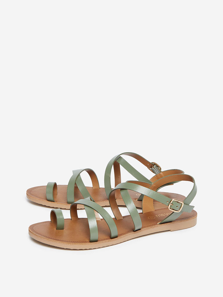 LUNA BLU Sage Green Criss-Cross Sandals