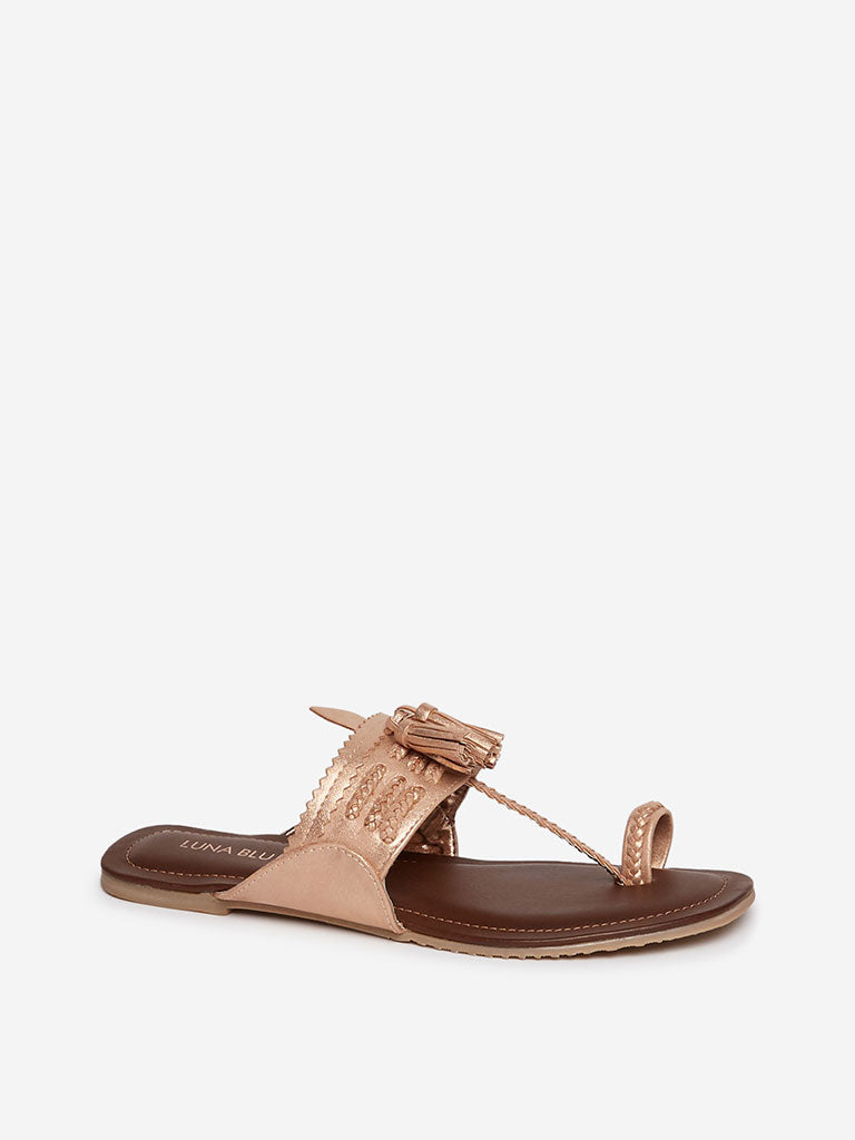 LUNA BLU Rose Gold Braided Kolhapuri Sandals
