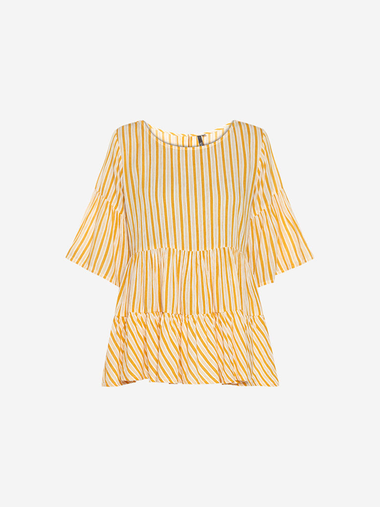 LOV Mustard Striped Tiered Carrie Top