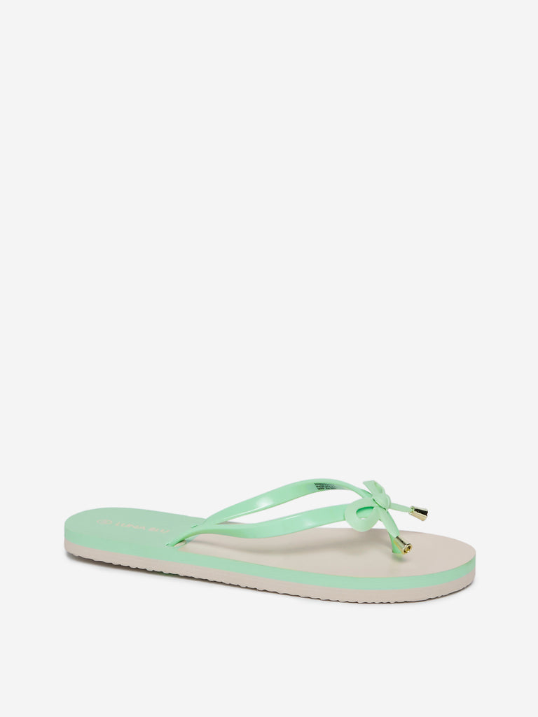LUNA BLU Mint Bow-Detailed Flip-Flops