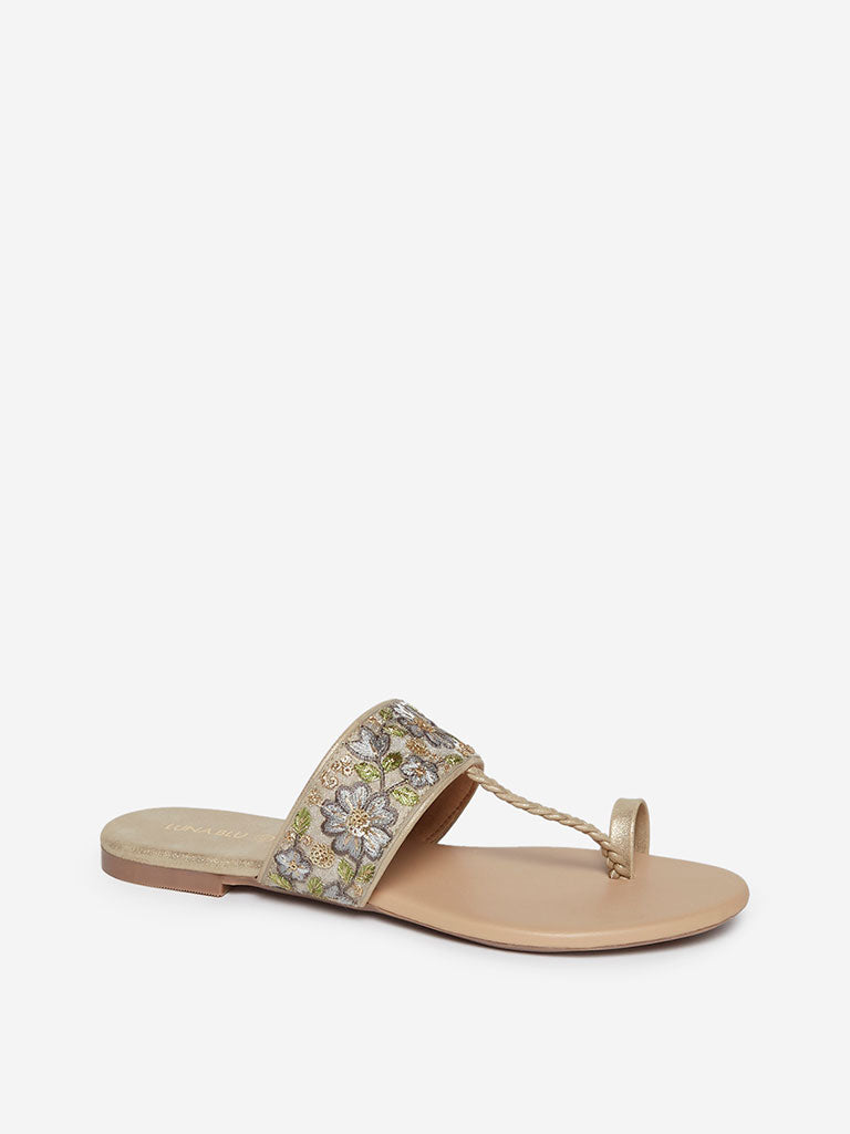 LUNA BLU Beige Embroidered Kolhapuri Sandals