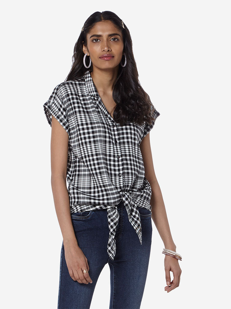 LOV Black And White Checked Tilda Casual Shirt