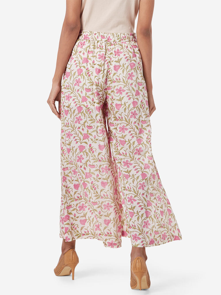Zuba Off White Floral Patterned Palazzos