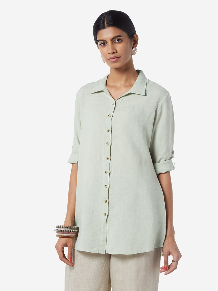 Zuba Light Green Linen Ethnic Top