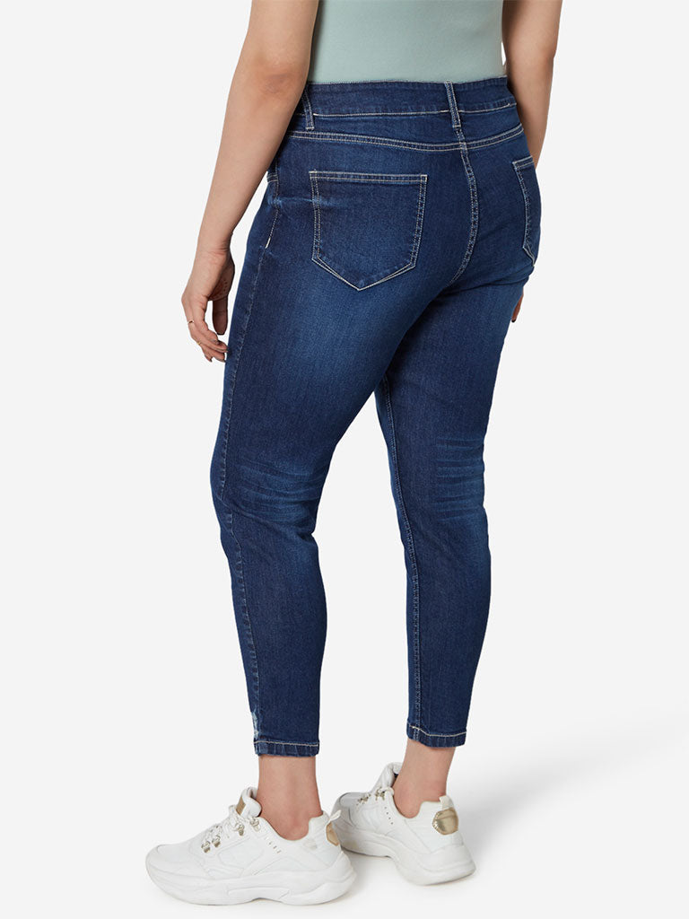 Sassy Soda Curve Dark Blue Cropped Matt Jeans