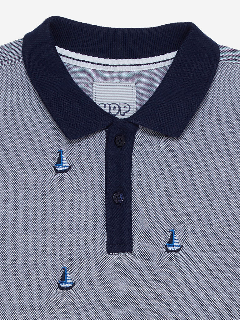 HOP Kids Navy Sailboat Polo T-Shirt