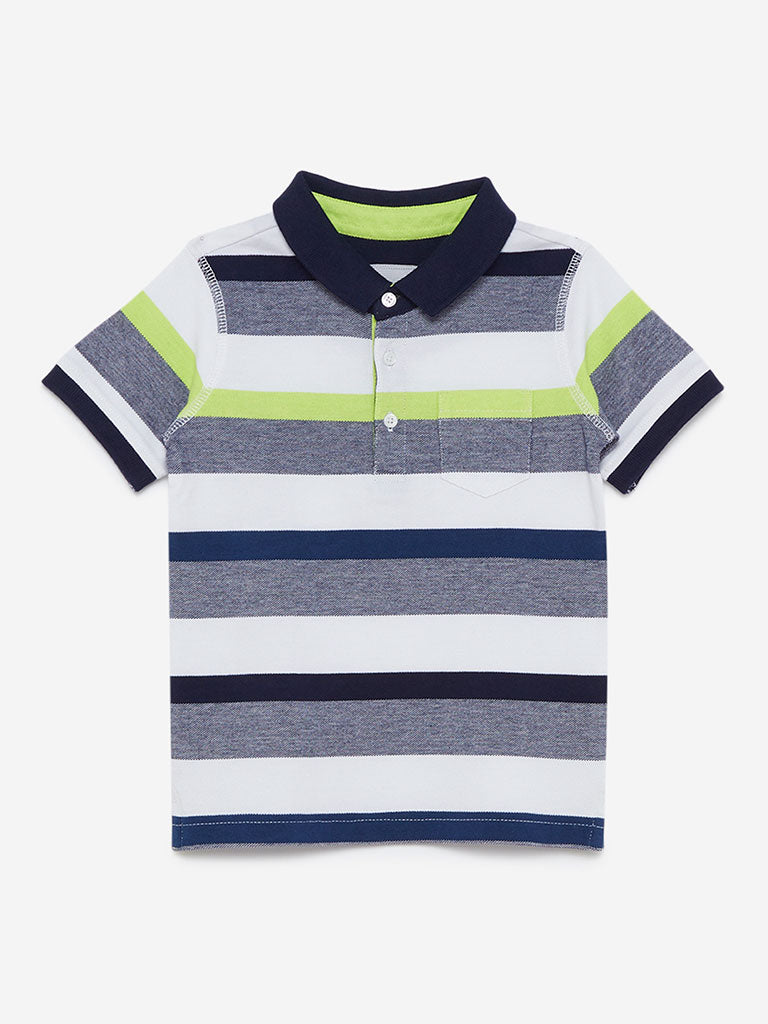 HOP Kids Navy Striped Polo T-Shirt