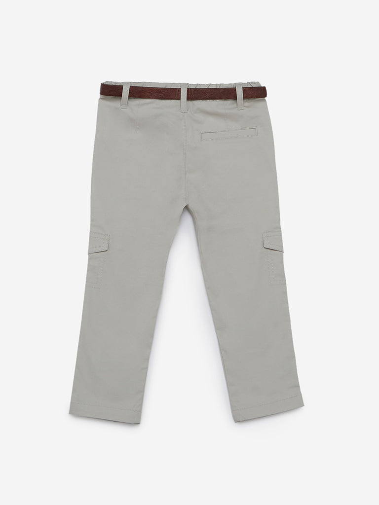 HOP Kids Ecru Jetson Trousers With Belt