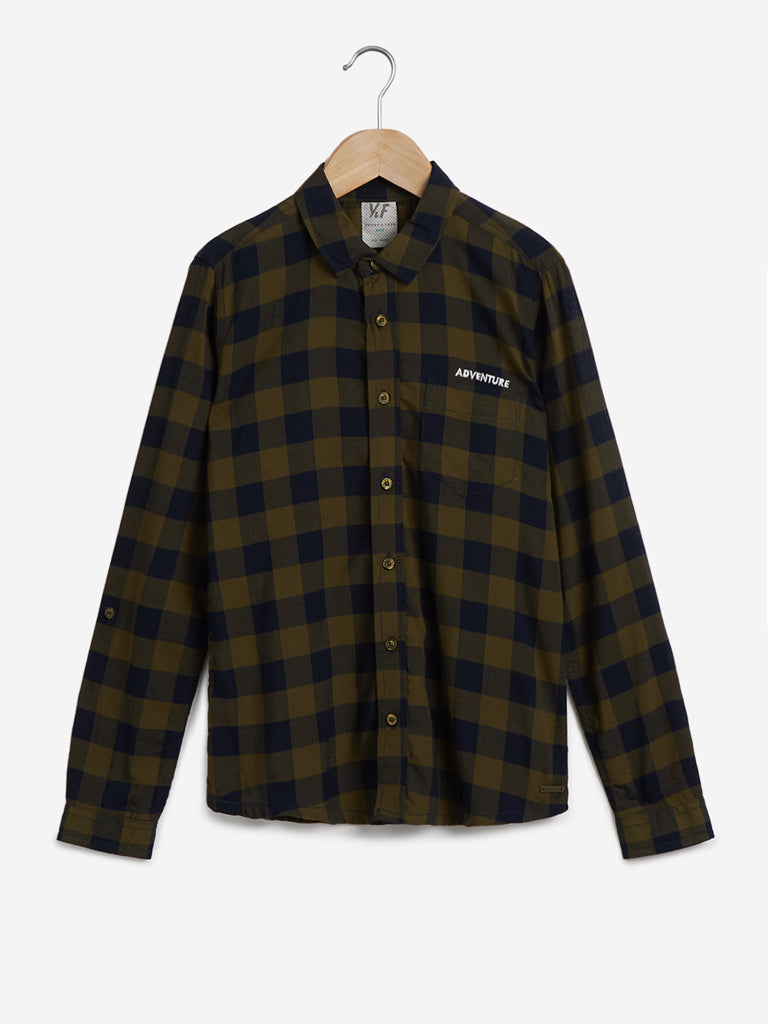 Y&F Kids Olive Checkered Shirt