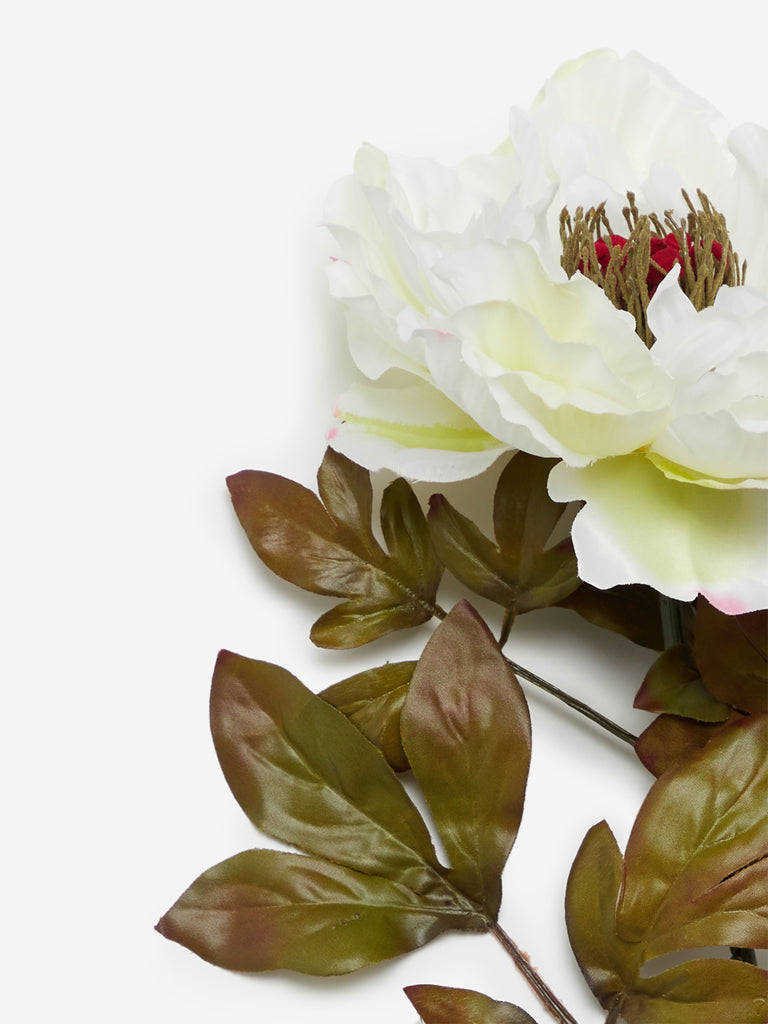 Westside Home White Artificial Large Peony Flower