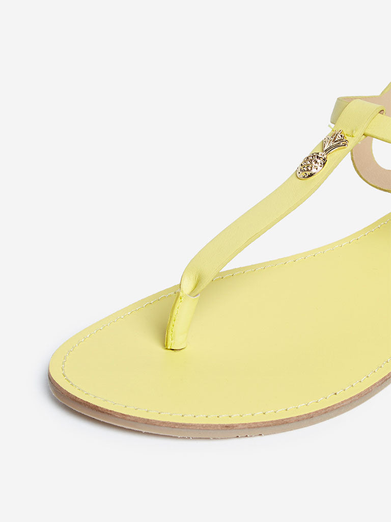 LUNA BLU Yellow Pineapple Pattern Sandals