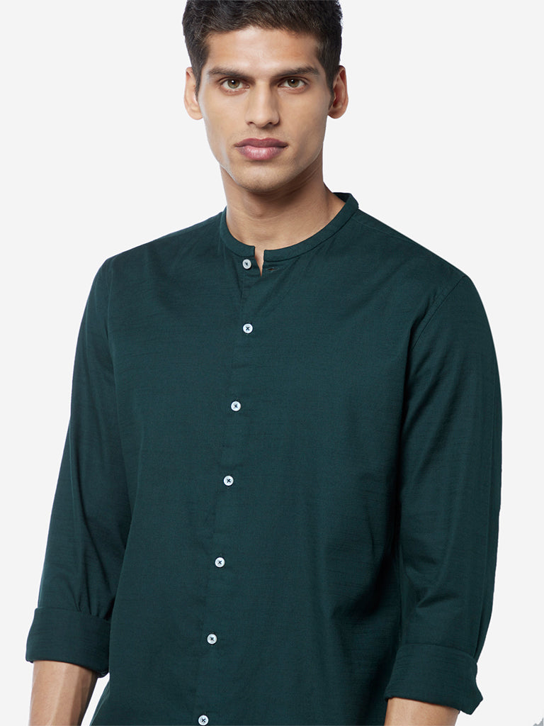 Ascot Dark Green Slim Fit Band Neck Shirt