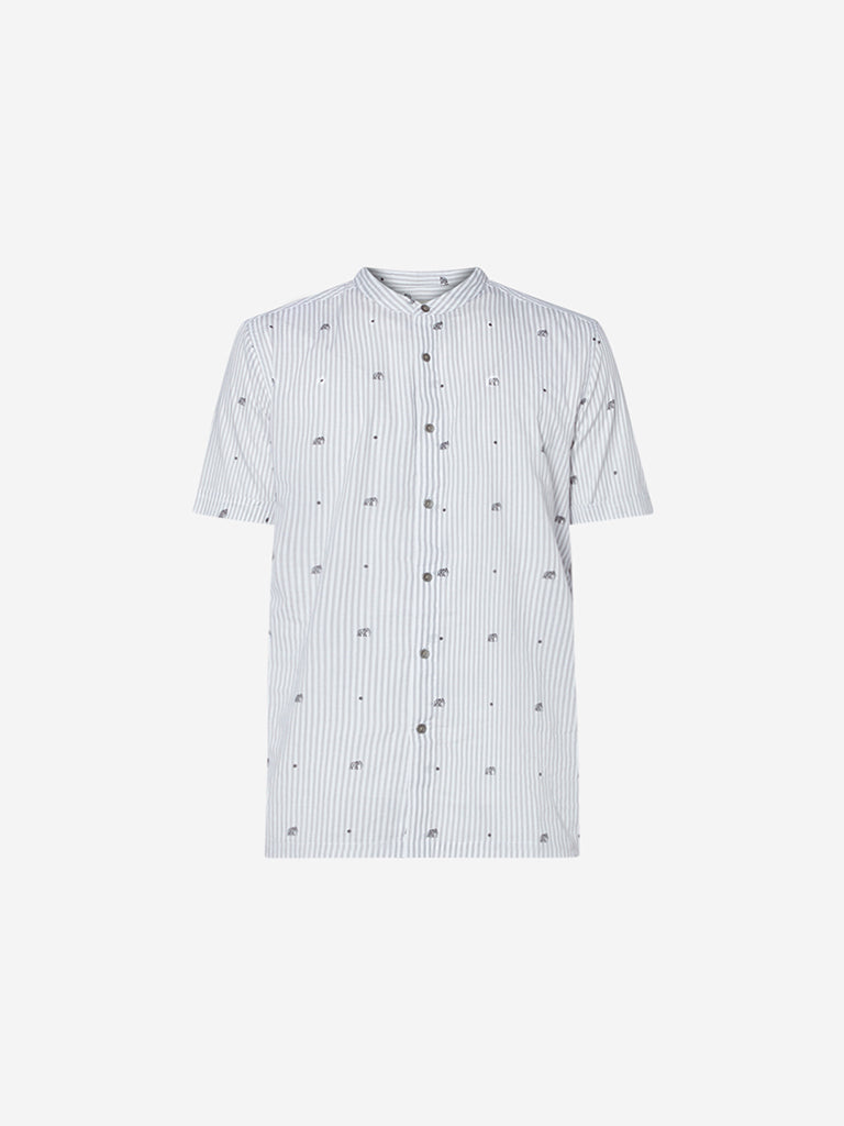 ETA Off White Striped Slim Fit Shirt