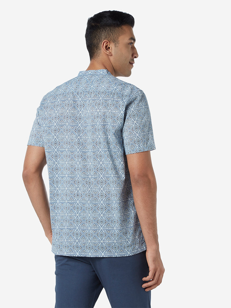 ETA Blue Geometrical Print Resort Fit Shirt